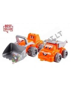 Smėlio žaislai - Statybos aikštelė - Savivartis iru traktorius-pakrovėjas