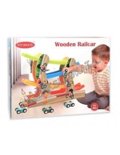 Medinis serpantinas su mašinomis - Wooden Railcar