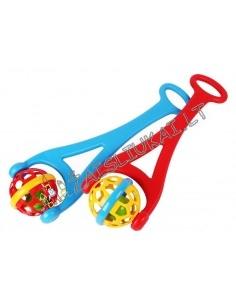 Barškantis stumdomas žaislas-kamuolys su rankena