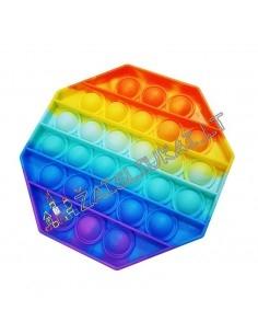 Antistresinis silikoninis žaislas - Pop IT vaivorykštinis aštuonkampis