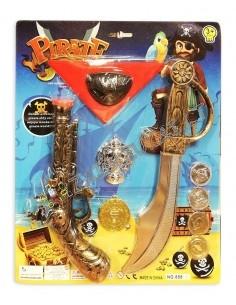 Pirato rinkinys - ginklas, auksiniai ir sidabriniai pinigai