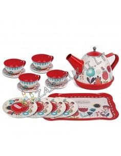 Žaislinis metalinių indų rinkinys - Arbatinukas su arbatos servizu