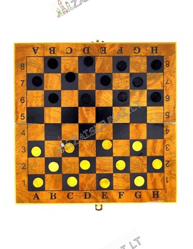 Mediniai šachmatai ir šaškės su medine lenta