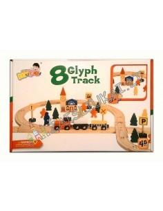 Medinis traukinukas su mediniais bėgiais